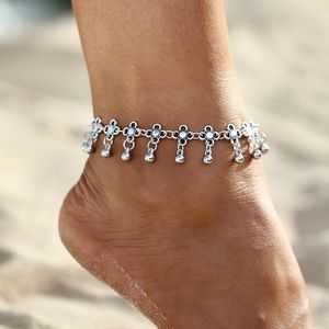 Chain Link Anklet - Flower Pendant & Silver Beads